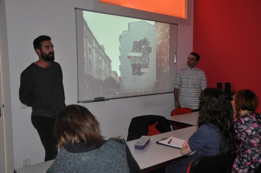 Pablo Purón y Javier Serrano,miembros de Boa Mistura, durante la Master Class en Creanavarra