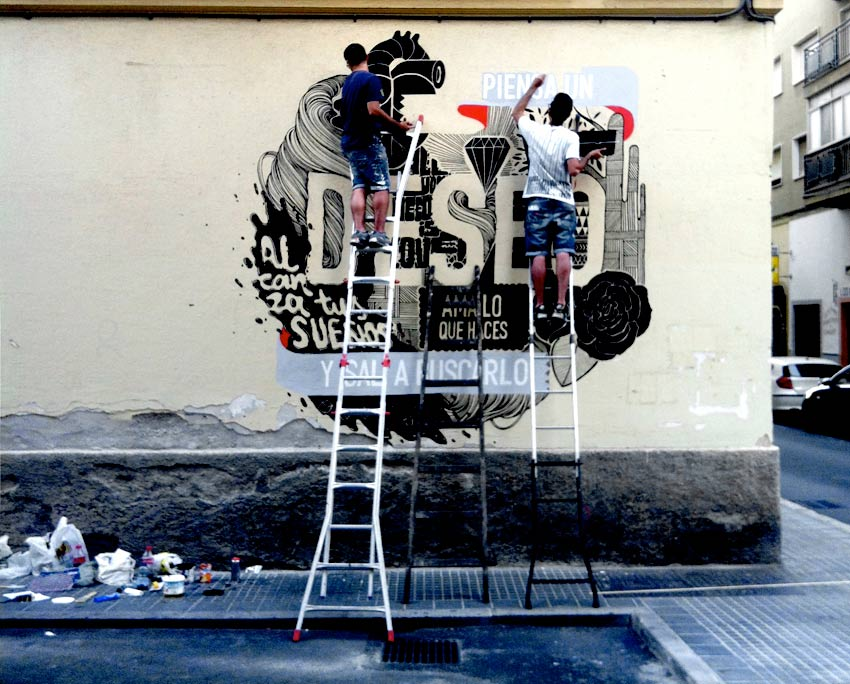 Piensa un deseo y sal a buscarlo. Mural para reactivar una zona de Málaga.Foto de boamistura.com